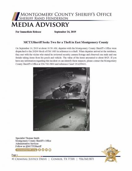 MCSO Looking For Theft Suspects